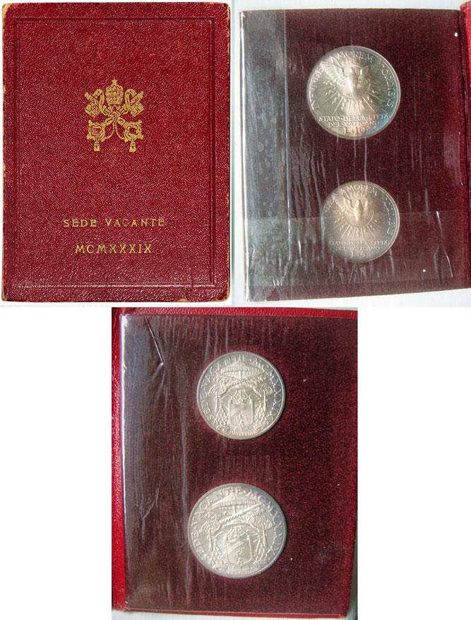 1939 Sede Vacante Vatican 10 + 5 Lire Folder Photo