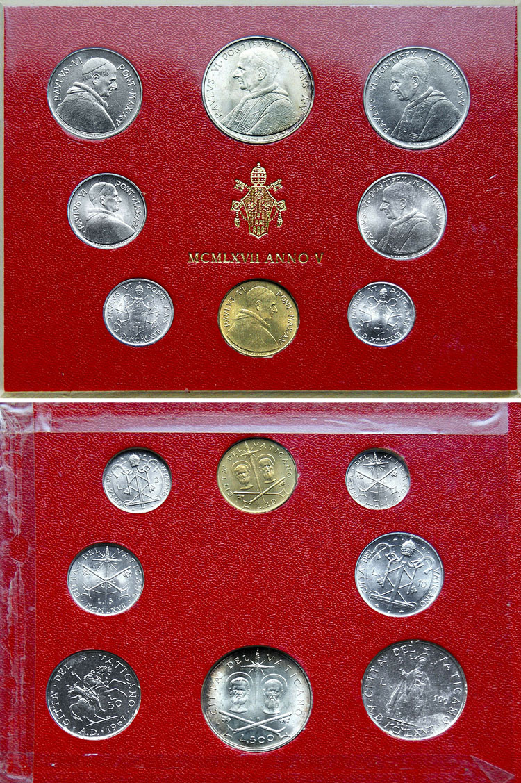 1967 Vatican Mint Coin Set, 8 Coins BU Photo