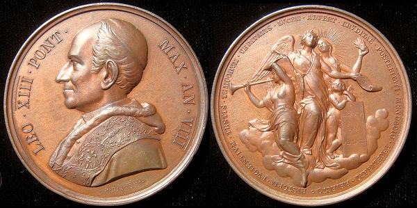 Leo XIII 1885 Anno VIII Bronze Medal  Photo