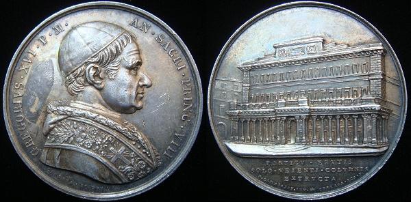 Gregory XVI 1838 Anno VIII Silver Medal Photo