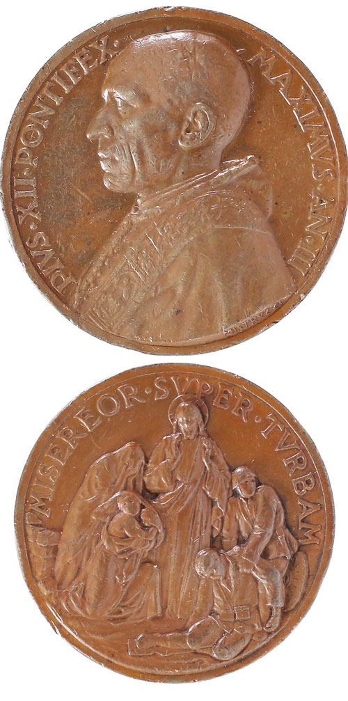 Pius XII 1941 Appeal End of War Bronze Medal Photo