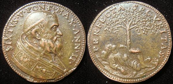 Sixtus V (1585-90) Anno II Old Cast Bronze Photo