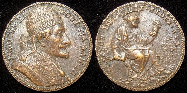 Innocent XI (1676-89) Anno III Bronze Medal Photo