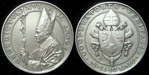Benedict XVI Anno I Silver Election Medal Photo