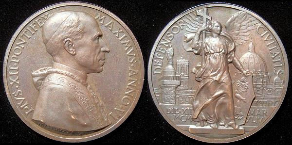 Pius XII (1939-58) Anno VI Bronze Medal Photo