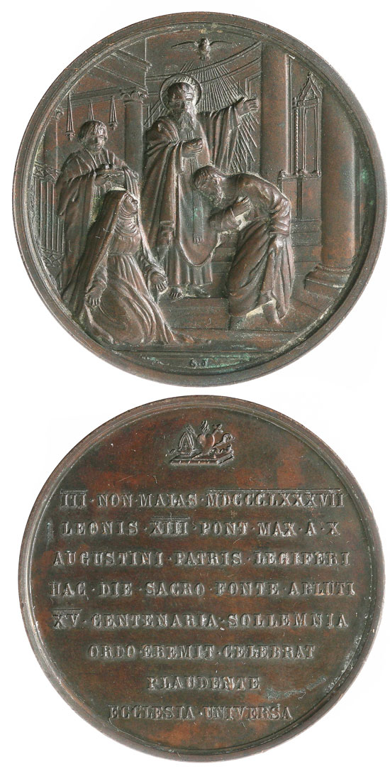 Leo XIII 1887 Medal, Conversion of St. Augustine Photo