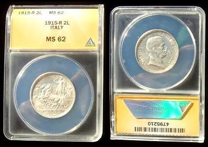1915 Italy 2 Lire Silver Coin ANACS MS62 Photo
