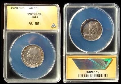 1928 Italy 5 Lire Silver Coin ANACS AU55 Photo