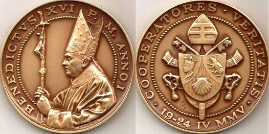 Benedict XVI Anno I Bronze Election Medal Photo