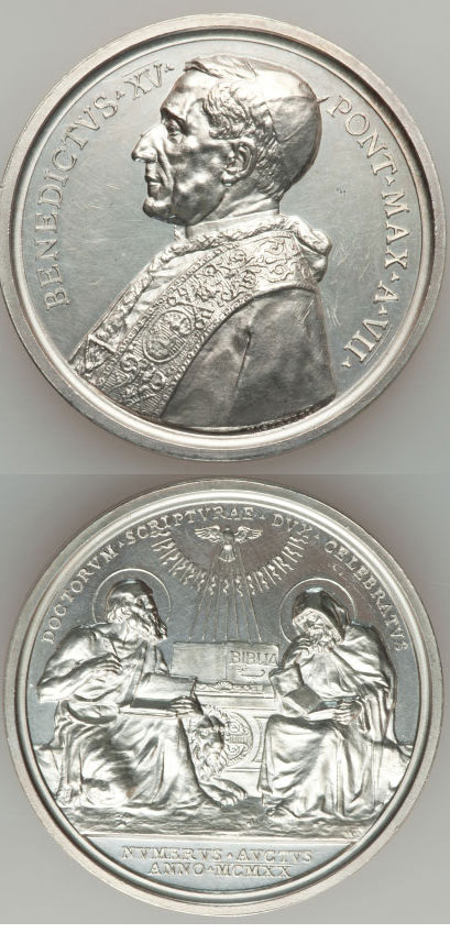 Benedict XV (1914-22) A.VII Silver St. Ephrem Photo