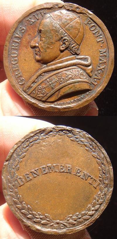 Gregory XVI (1831-46) Anno I Benemerenti Medal Photo