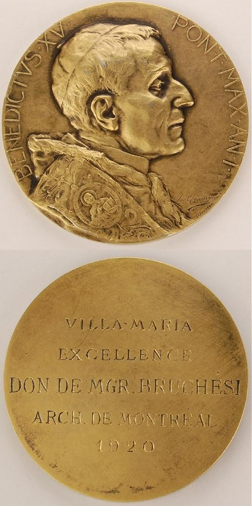 Benedict XV (1914-22) Anno I Msgr. Bruchesi Award Photo