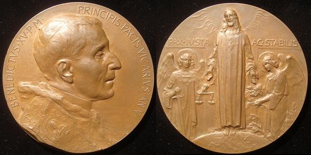 Benedict XV (1914-22) End of WWI Medal 67mm Photo