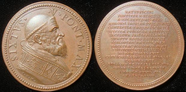 Sixtus V (1585-90) Muller Restitution Medal Photo