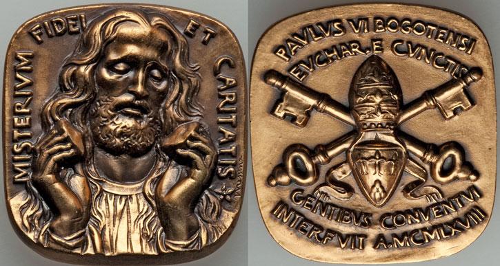 Paul VI 1968 Visit to Bogota Medal Photo