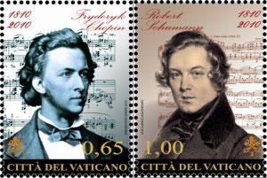 2010 Vatican Stamps Chopin & Schumann Photo