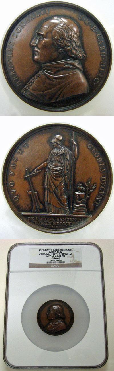 Cardinal Ercole Consalvi 1824 Medal MS62 Photo