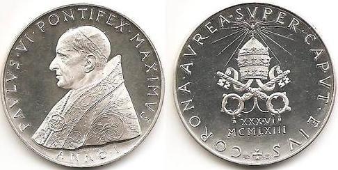 Paul VI 1963 Silver Coronation Medal Photo