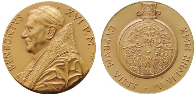 Benedict XVI 2010 Cyprus Pilgrimage Medal Photo