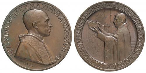 Pius XII (1939-58) Anno XVII Bronze Medal Photo