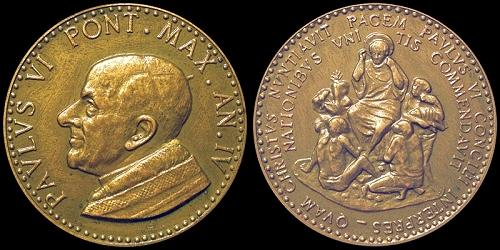 Paul VI (1963-78) Anno IV Bronze Medal Photo