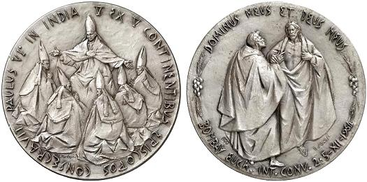 Paul VI 1964 Visit to India Silver Medal Photo