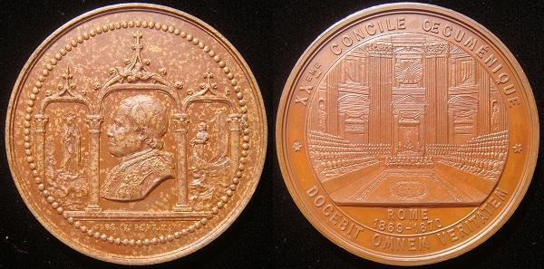 Pius IX 1869 First Vatican Council Medal 50mm Photo