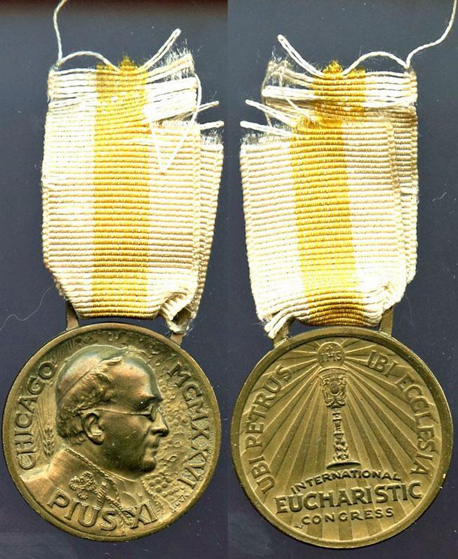 Pius XI 1926 Eucharistic Congress Medal Photo
