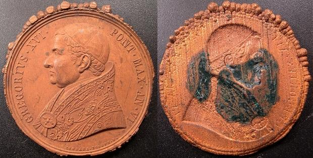 Gregory XVI (1831-46) A.VI Galvanic Copper Medal Photo
