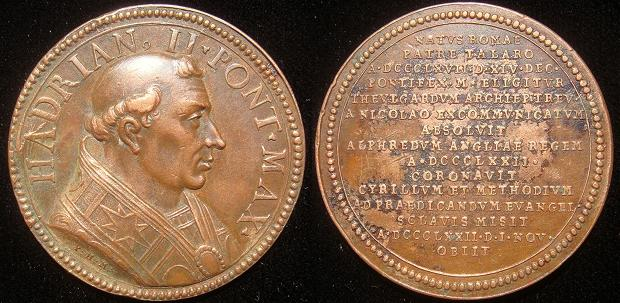 Hadrian II (867-72) Muller Restitution Medal Photo