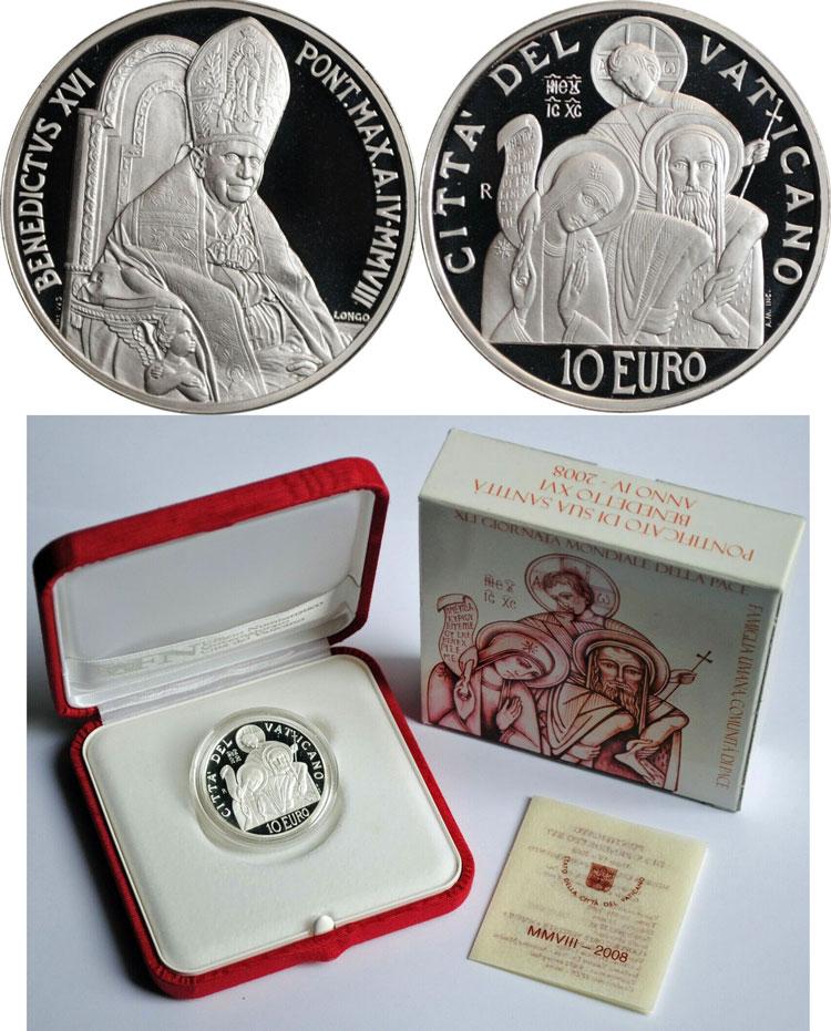 2008 Vatican 10 Euro Coin WORLD PEACE DAY Photo