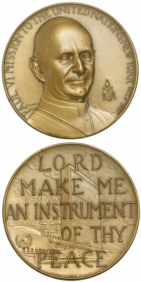 1965 Paul VI Bronze Peace Medal 64mm Photo