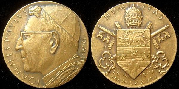 John Paul I (1978) Official Bronze Medal Photo