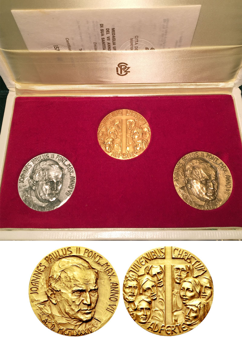 John Paul II Anno VII Gold, Silver & Bronze Photo