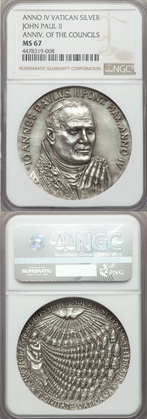 John Paul II A.IV Silver Medal NGC MS67 Photo