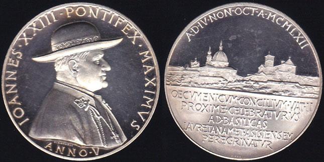 John XXIII Anno V Silver Medal, Loreto & Assisi Photo