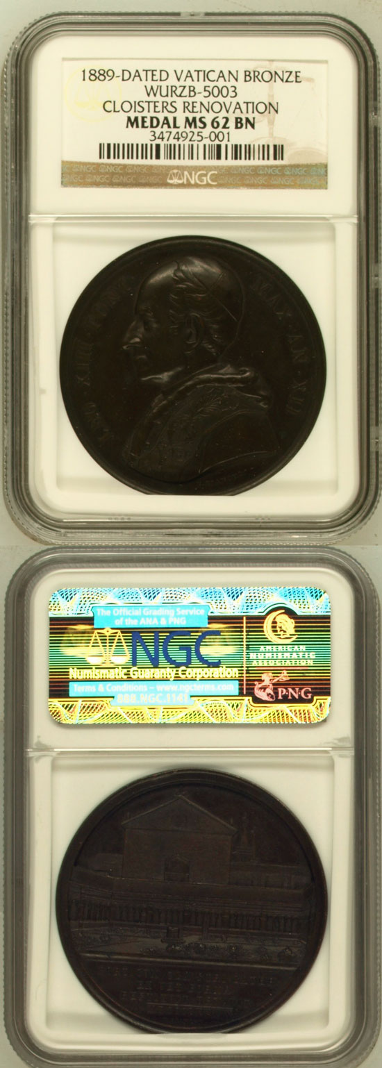 Leo XIII 1889 Lateran Cloister Medal NGC MS62 Photo