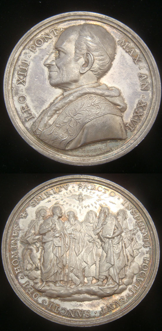 Leo XIII 1903 Silver Medal Biblical Commission Photo
