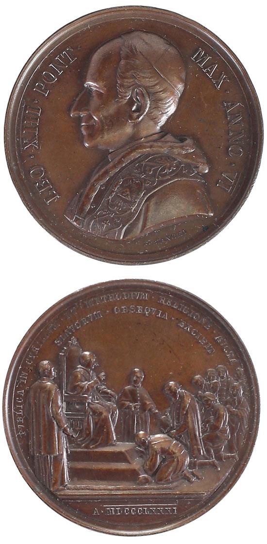 Leo XIII 1883 Anno VI Bronze Medal Photo