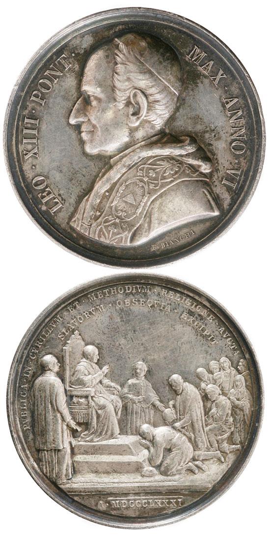 Leo XIII 1883 Anno VI Silver Medal Photo