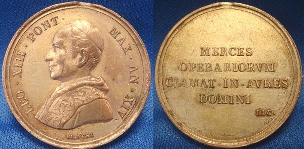 Leo XIII 1891 A.XIV Medal RERUM NOVARUM Photo