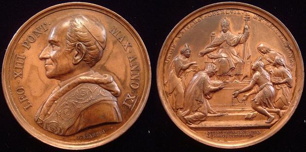 Leo XIII A.XI Bronze Giubileo Sacerdotale Medal Photo