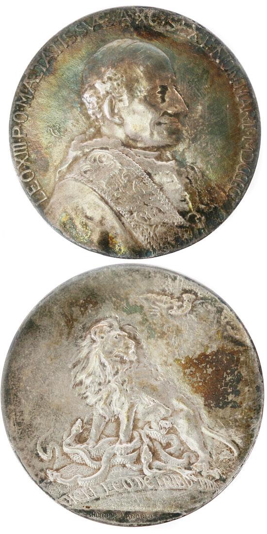 Leo XIII 1900 90th Birthday Silver Medal Photo