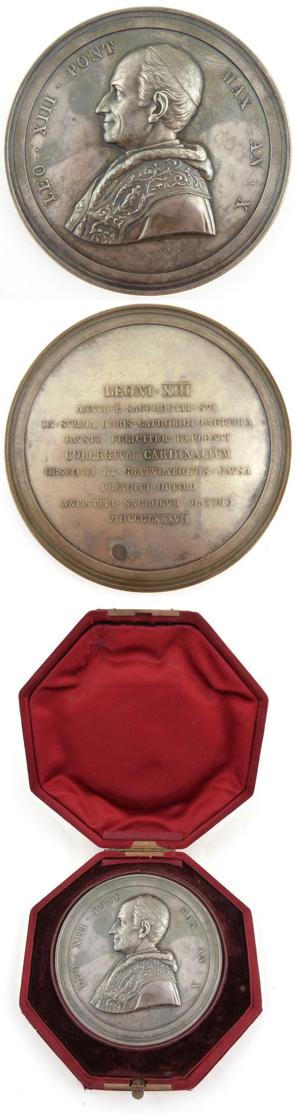 Leo XIII 1887 Golden Jubilee of Ordination 82mm Photo