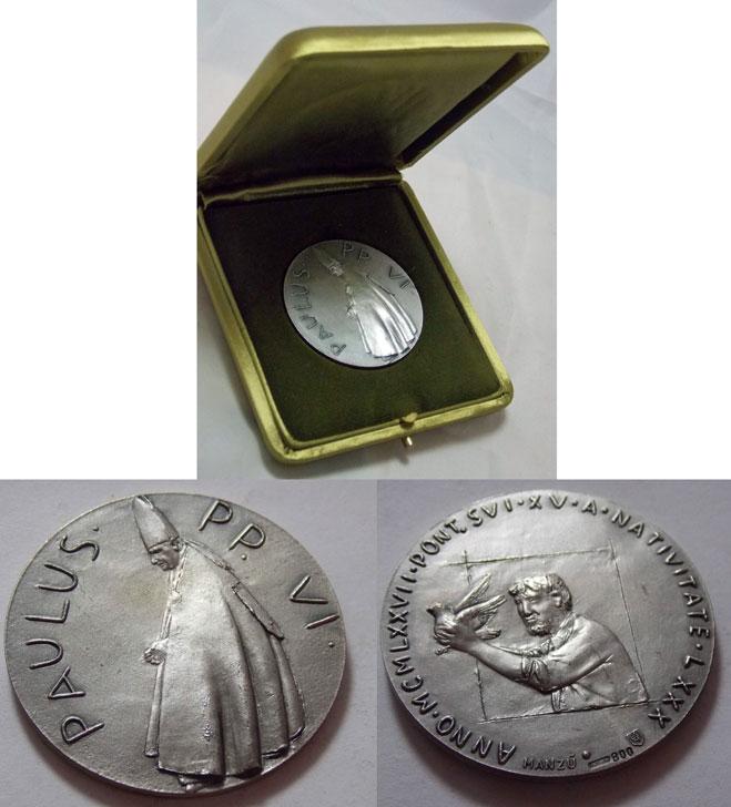 Paul VI 1977 Silver Medal 80th Birthday Photo