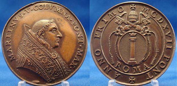 Martin V (1417-31) Bronze Medal Coat of Arms Photo