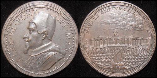 Alexander VII (1655-67) Anno VI Bronze Medal Photo