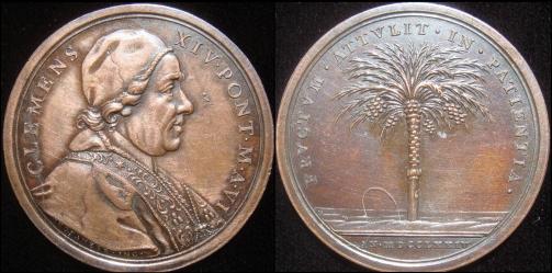 Clement XIV (1769-74) Anno VI Bronze Medal Photo