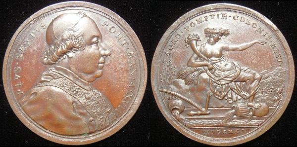 Pius VI (1775-99) Anno XVII Bronze Medal Photo