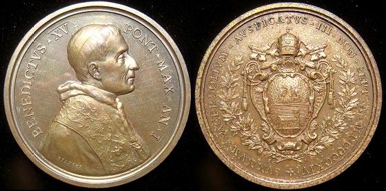 Benedict XV (1914-22) Anno I Bronze Election Medal Photo